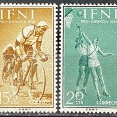Sellos: IFNI, 1958. EDIFIL 145/48. PRO INFANCIA. DEPORTE. SERIE COMPLETA. NUEVO. SIN FIJASELLOS.. Lote 269190148