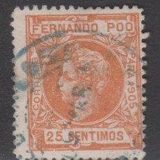 Sellos: 1905 FERNANDO POO ALFONSO XIII 25 CÉNT. USADO. VER. Lote 274840463