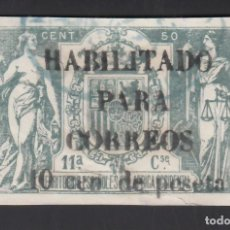 Sellos: GUINEA, 1909 EDIFIL Nº 58AA, SELLO FISCAL HABILITADO PARA CORREOS.. Lote 276369313