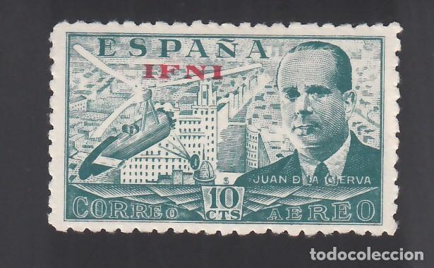Sellos: IFNI, 1948 EDIFIL Nº 57ic /**/, Juan de la Cierva, Variedad de Impresión, Calcado al dorso - Foto 2 - 276542073