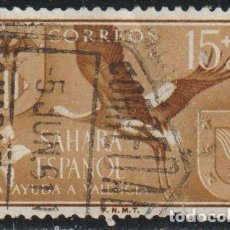 Sellos: SAHARA ESPAÑOL 1958 EDIFIL 147 SELLO º AYUDA VALENCIA ESCUDO ARMAS FAUNA CIGÜEÑA WHITE STORK MI 178. Lote 277131438