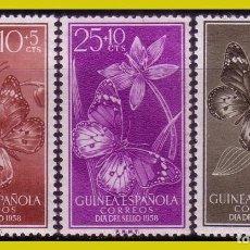 Sellos: GUINEA 1958 DÍA DEL SELLO, EDIFIL Nº 388 A 390 * *. Lote 277735003