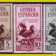Sellos: GUINEA 1952 DÍA DEL SELLO, EDIFIL Nº 318 A 320 * *. Lote 278328478