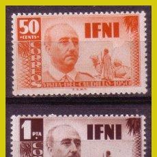 Sellos: IFNI 1951 VISITA GENERAL FRANCO, EDIFIL Nº 73 Y 74 * *. Lote 279552688