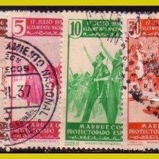 Francobolli: MARRUECOS 1937 I ANIVº DEL ALZAMIENTO, EDIFIL Nº 169 A 172, 176 Y 185 (O). Lote 283741143