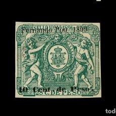 Sellos: FERNANDO POO- SELLO FISCAL -EDIFIL 47 -POLIZA 1899-SIN CORREOS - 10 CENT DE PESO - MNG -NUEVO. Lote 286909073