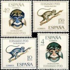 Sellos: FERNANDO POO 1966, EDIFIL.251/54 (DÍA DEL SELLO: FAUNA: MONOS)./ NUEVOS, SIN FIJASELLOS. MNH.. Lote 287093363