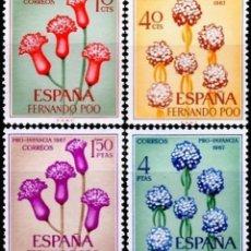 Sellos: FERNANDO POO 1967, EDIFIL.255/58 (PRO INFANCIA: FLORA)./ NUEVOS, SIN FIJASELLOS. MNH.. Lote 287094718