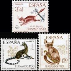 Sellos: FERNANDO POO 1967, EDIFIL.259/61 (DIA DEL SELLO: FAUNA: MAMÍFEROS)./ NUEVOS, SIN FIJASELLOS. MNH.. Lote 287095283