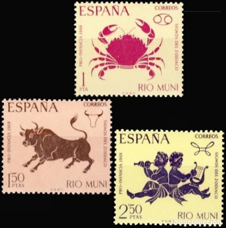 RIO MUNI 1968, EDIFIL 83/85 ''PRO INFANCIA: SIGNOS DEL ZODIACO''./ NUEVOS, SIN FIJASELLOS. MNH. (Sellos - España - Colonias Españolas y Dependencias - África - Río Muni)