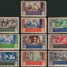 Sellos: CABO JUBY 1946, EDIFIL 152/61, ''MARRUECOS SOBRECARGADOS''./ VER FOTOS DEL ANV. Y REV.. Lote 288115058
