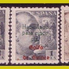 Sellos: GUINEA, 1949 SELLOS DE ESPAÑA HABILITADOS, EDIFIL Nº 273, 273A Y 274 * *. Lote 288210203