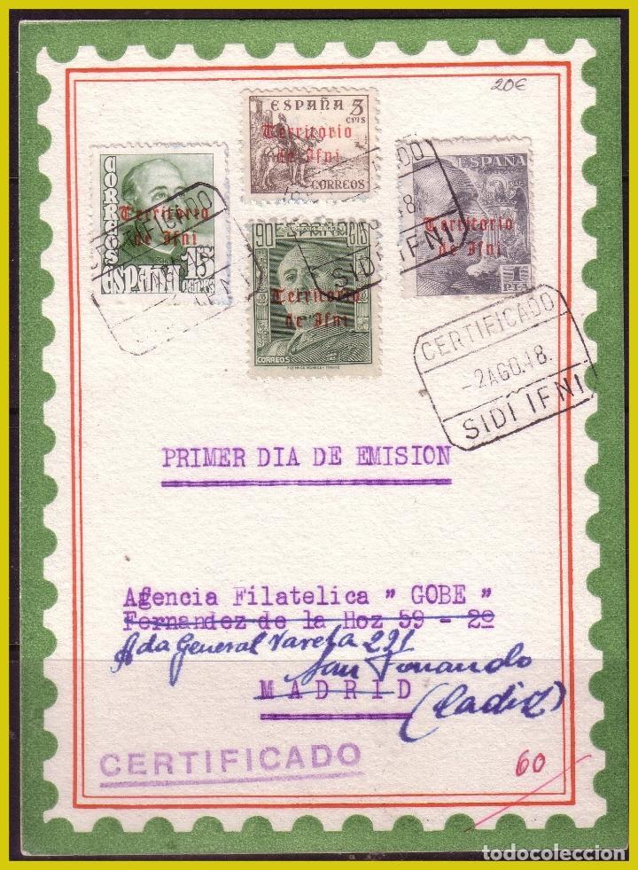 IFNI, 1948 TARJETA 1º DÍA DE EMISIÓN, EDIFIL Nº 38, 42, 50 Y 51 (O) (Sellos - España - Colonias Españolas y Dependencias - África - Ifni)