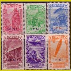 Sellos: IFNI, BENEFICENCIA 1943 HISTORIA DEL CORREO, EDIFIL Nº 7 A 12 * *. Lote 288213048