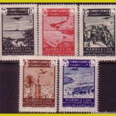 Sellos: MARRUECOS, 1942 PAISAJES Y AVIÓN EN VUELO, EDIFIL Nº 241 A 245 * *. Lote 288296993