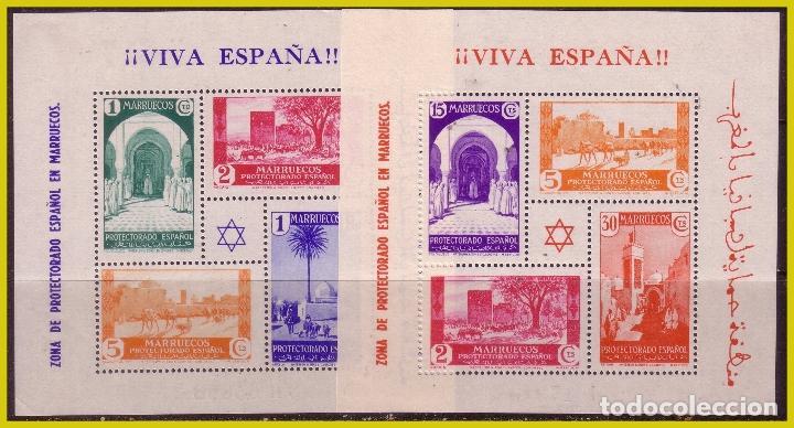 MARRUECOS, 1927 HOJITAS CON SELLOS DE PAISAJES, EDIFIL Nº 167 Y 168 * * LUJO (Sellos - España - Colonias Españolas y Dependencias - África - Marruecos)
