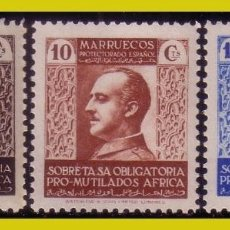 Sellos: MARRUECOS, BENEFICENCIA 1937 PRO MUTILADOS, EDIFIL Nº 1 A 3 * *. Lote 288297718