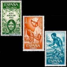 Sellos: RIO MUNI 1965, EDIFIL 60/62 ''XXV AÑOS DE PAZ: SANIDAD - CONDUCCIÓN MADERERA''./ NUEVOS, MNH.. Lote 288327338
