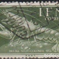 Sellos: IFNI 1954 EDIFIL 120 SELLO º DIA DEL SELLO CRUSTACEOS LANGOSTA EUROPEAN LOBSTER MICHEL 149 ESPAÑA. Lote 289432928