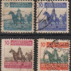 Sellos: MARRUECOS 1942, EDIFIL BENEFICENCIA 32/35 ''PRO MUTILADOS DE GUERRA''./ EXAMINAR FOTO./. Lote 289559493