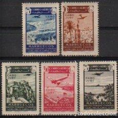 Sellos: CABO JUBY 1942, EDIFIL 133/37 ''MARRUECOS SOBRECARGADOS''./ VER FOTOS DEL ANV. Y REV.. Lote 290862998