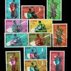Sellos: CL8-14 SELLOS DE LA REPUBLIQUE DE GUINE TEMA INSTRUMENTOS MUSICALES USADOS. Lote 292171603