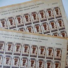Sellos: 2 H. CORRELATIVAS SERVICIOS POSTALES DE LA ZONA DE PROTECTORADO ESPAÑOL EN MARRUECOS 1939 EL CARTERO. Lote 293162918