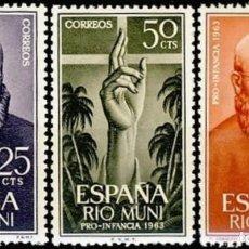 Sellos: RIO MUNI, 1963. EDIFIL 37/39** ''PRO INFANCIA - EVANGELIZACIÓN''./ NUEVOS, SIN FIJASELLOS. MNH.. Lote 293329003