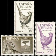 Sellos: RIO MUNI, 1965. EDIFIL 66/68** ''DÍA DEL SELLO: AVES, MAMÍFERO Y ESCUDO. ''./ NUEVOS, SIN FIJASELLOS. Lote 293331998