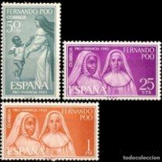 Sellos: FERNANDO POO 1963, EDIFIL 215/17** ''PRO INFANCIA: MONJAS INDÍGENAS''./ NUEVOS SIN FIJASELLOS. MNH.. Lote 294031508