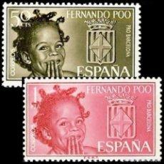 Sellos: FERNANDO POO 1963, EDIFIL 218/19** ''PRO BARCELONA - NIÑA NATIVA, ESCUDO''./ NUEVOS SIN FIJASELLOS.. Lote 294032353