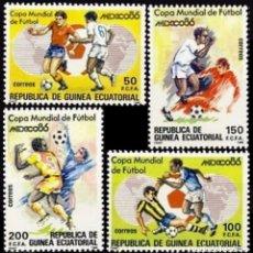 Sellos: GUINEA ECUATORIAL FNMT 1986, EDIFIL 81/84 ''FÚTBOL: MÉXICO 86''./ NUEVOS SIN FIJASELLOS, MNH.. Lote 294834283