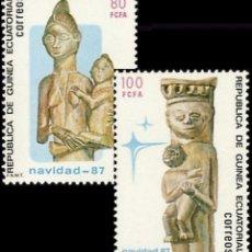 Sellos: GUINEA ECUATORIAL FNMT 1987, EDIFIL 96/97 ''NAVIDAD: CULTURA - TALLA''./ NUEVOS SIN FIJASELLOS, MNH.. Lote 294838388