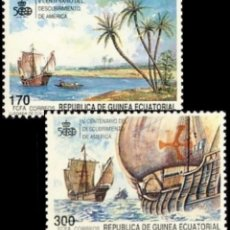 Sellos: GUINEA ECUATORIAL FNMT 1990, EDIFIL 129/30 ''DESCUBRIMIENTO DE AMÉRICA - BARCOS'' NUEVOS, MNH.. Lote 294946268