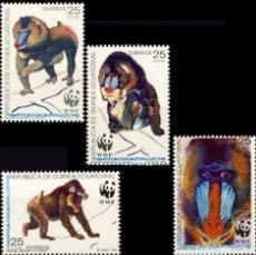 Sellos: GUINEA ECUATORIAL FNMT 1991, EDIFIL 139/42 ''FAUNA - MAMÍFEROS - MANDRIL'' NUEVOS, MNH.. Lote 294951423