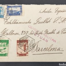 Sellos: GUERRA CIVIL CARTA CON CENSURA MILITAR TETUÁN MARRUECOS 1939 CORREO AÉREO. Lote 295643853