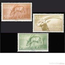 Sellos: SAHARA , 1955. EDIFIL 123/25** ''DÍA DEL SELLO COLONIAL - FAUNA: ORIX.''./ NUEVO SIN FIJASELLOS, MNH. Lote 295644853