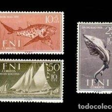 Sellos: IFNI EDIFIL 149-151 NUEVOS SIN CHARNELA MNH ** 1958 DÍA DEL SELLO. Lote 295882998