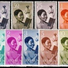 Sellos: RIO MUNI, 1960. EDIFIL 1/8* ''NIÑO INDIGENA - EVANGELIZACIÓN''./ NUEVOS CON FIJASELLOS.. Lote 295928758