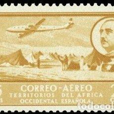 Sellos: AFRICA OCCIDENTAL ESPAÑOLA 1951 EDIFIL 20 SELLO ** AVION SOBREVOLANDO CAMPAMENTO NOMADA MICHEL 20. Lote 296846268