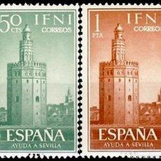 Sellos: IFNI, 1963. EDIFIL 193/94* ''AYUDA A SEVILLA: TORRE DEL ORO ''./ NUEVOS, CON FIJASELLOS.. Lote 297044508