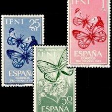 Sellos: IFNI, 1963. EDIFIL 195/97* ''PRO INFANCIA - FAUNA: MARIPOSAS ''./ NUEVOS CON FIJASELLOS.. Lote 297046098