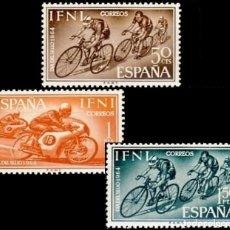 Sellos: IFNI, 1964. EDIFIL 206/08** ''DÍA DEL SELLO: CICLISMO, MOTORISMO''./ NUEVOS SIN FIJASELLOS.. Lote 297068158