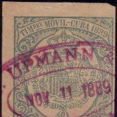 Sellos: CUBA. FISCAL. 1889. 5 C. TIMBRE MÓVIL. ANULADO CON LA MARCA *...UPMANN &/HAVANA* VIOLETA. MUY BTO.. Lote 23034320