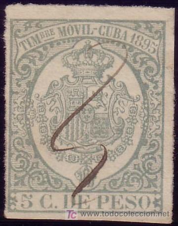 CUBA. FISCAL. 1895. 5 C. DE PESO. TIMBRE MÓVIL. MUY BONITO. (Sellos - España - Colonias Españolas y Dependencias - América - Cuba)