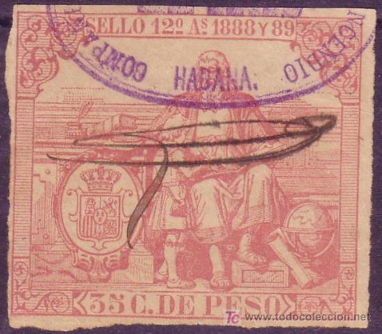 CUBA. FISCAL. 1888-89. 35 C. PÓLIZA *SELLO 12º*. ANULADO A PLUMA Y MARCA DE LA HABANA. MUY BONITA. (Sellos - España - Colonias Españolas y Dependencias - América - Cuba)