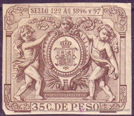 CUBA. FISCAL. 1896-97. ** 35 C. * SELLO 12º AS *. MUY BONITO Y RARO. (Sellos - España - Colonias Españolas y Dependencias - América - Cuba)