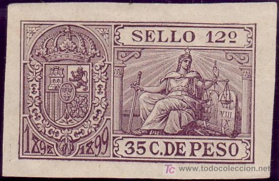CUBA. FISCAL. 1898-99. ** 35 C. PÓLIZA * SELLO 12º *. RARA Y DE LUJO. (Sellos - España - Colonias Españolas y Dependencias - América - Cuba)