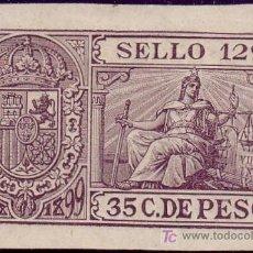 Sellos: CUBA. FISCAL. 1898-99. ** 35 C. PÓLIZA * SELLO 12º *. RARA Y DE LUJO.. Lote 24223789