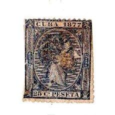 Sellos: SELLO CUBA 1877 ALFONSO XII - VALOR FACIAL 25 CÉNTIMOS DE PESETA. Lote 24859321
